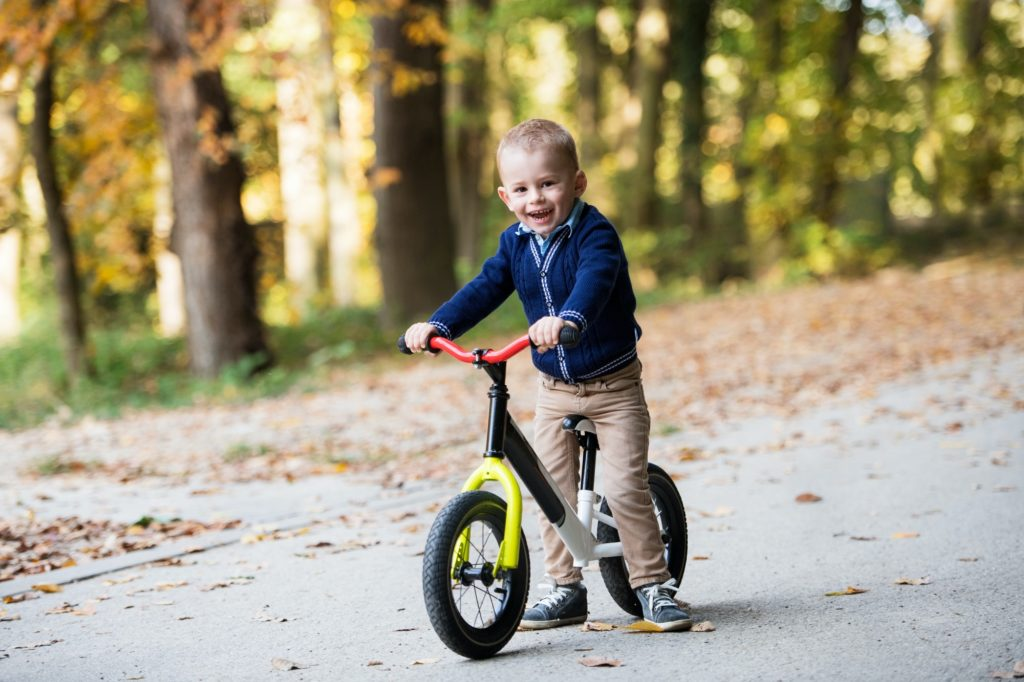 Small toddler boy in autumn forest, riding balance bike